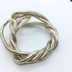 Serpentine Bendable Twist Silver Necklace